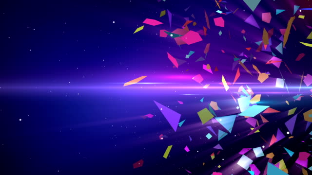 stockvideo's en b-roll-footage met shattering colorful 3d shapes with slow motion animation - abstract