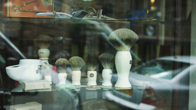 shaving brushes display - beard stock videos & royalty-free footage