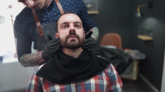 shaving time at barber shop - shaving brush stock videos & royalty-free footage