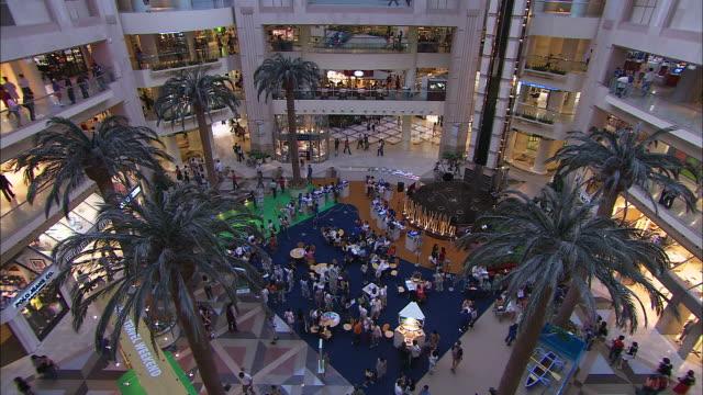 vídeos y material grabado en eventos de stock de t/l, ws, ha, shaw house shopping mall interior, singapore - palmera abanico