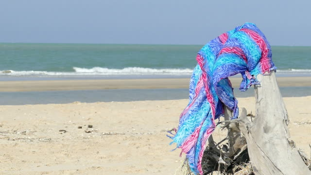 shawl sway with thw wind at tropical beach - shawl stock videos and b-roll footage