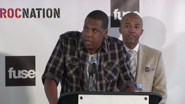 shawn 'jayz' carter thanks all who are involved how all this came about at the 'answer the call' press conference with jayz at new york ny - hov bildbanksvideor och videomaterial från bakom kulisserna