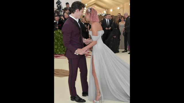shawn mendes and hailey baldwin attend the heavenly bodies fashion the catholic imagination costume institute gala at the metropolitan museum of art... - hailey rhode bieber stock videos & royalty-free footage