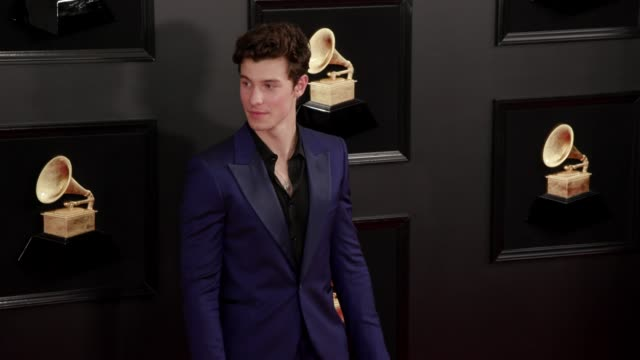vídeos de stock, filmes e b-roll de shawn mendes at the 61st grammy awards arrivals at staples center on february 10 2019 in los angeles california editorial - prêmios grammy