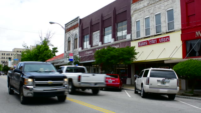 Shawnee Oklahoma OK Main Street with traffic in small town America