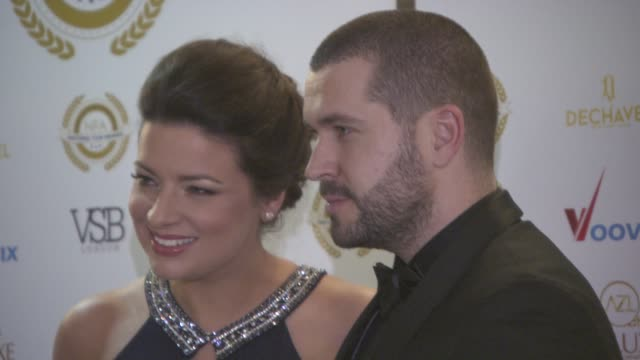 shayne ward and sophie austin at the 4th annual national film awards at porchester hall on march 28, 2018 in london, england. - ポーチェスター点の映像素材/bロール