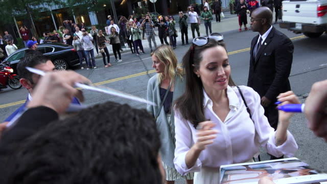 She also signs posters and allows some selfies during the interchange with her followers She is in Toronto for the premiere of the movie ' The...