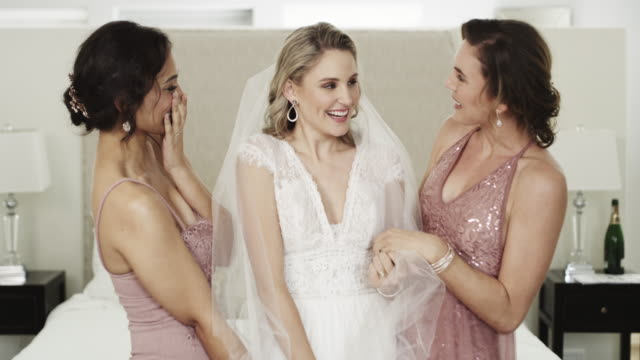 she has every reason to be a happy bride - backstage stock videos & royalty-free footage