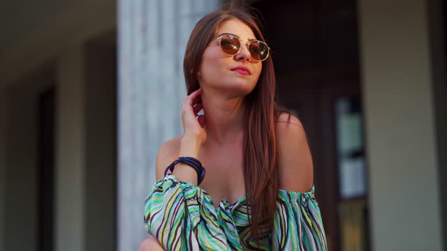 she is so fashionable and beautiful - sunglasses stock videos & royalty-free footage