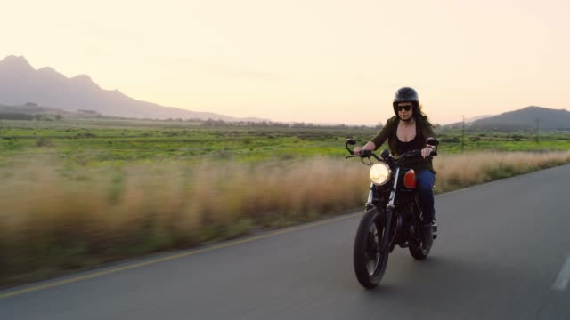 she loves the open road - motorcycle biker stock videos & royalty-free footage