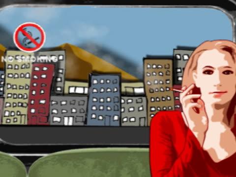 she smokes like a train - no smoking sign stock videos & royalty-free footage