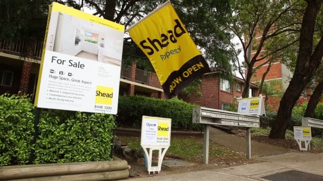 A Shead Property open house sign stands on display outside a house in the suburb of Frenchs Forest in Sydney Australia on Saturday Oct 18 The LJ...