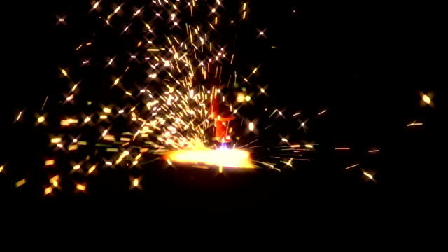 Sheaf of sparks from plasma cutting