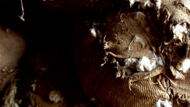 黄麻布袋の毛を剪断する - 麻袋点の映像素材/bロール