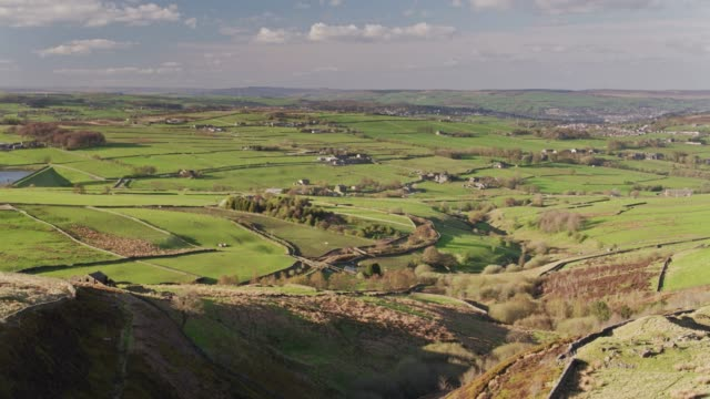 sheep grazing land above haworth and oxenhope, west yorkshire - aerial view - moor stock videos and b-roll footage