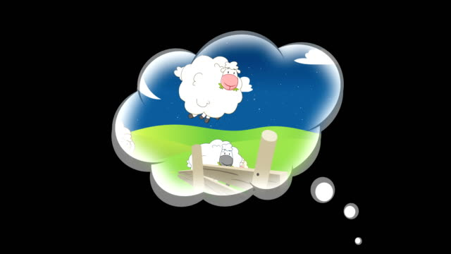 sheep jumping over a fence in a dream cloud - 4k - sheep stock videos & royalty-free footage
