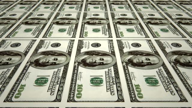 Sheet of $100 bills / printing dollar bills (loopable)