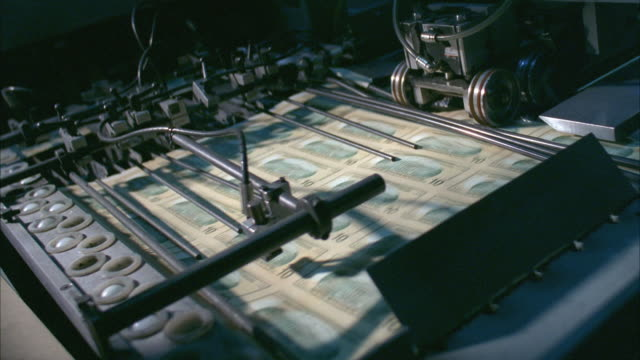 cu, sheets of american ten dollar bills moving fast on diverter, washington dc, usa - money press stock videos and b-roll footage