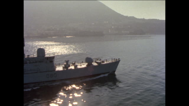 1976 HMS Sheffield and her support ashore in Gibraltar