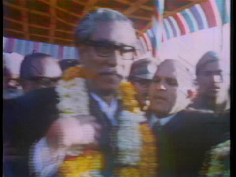 sheikh mujibur rahman, president of newly-independent bangladesh, receives a warm welcome in new delhi, india. - (war or terrorism or election or government or illness or news event or speech or politics or politician or conflict or military or extreme weather or business or economy) and not usa stock videos & royalty-free footage