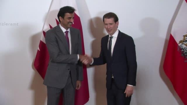 sheikh tamim bin hamad al thani emir of the state of qatar meets sebastian kurz the austrian chancellor in vienna - traditionally austrian stock videos & royalty-free footage