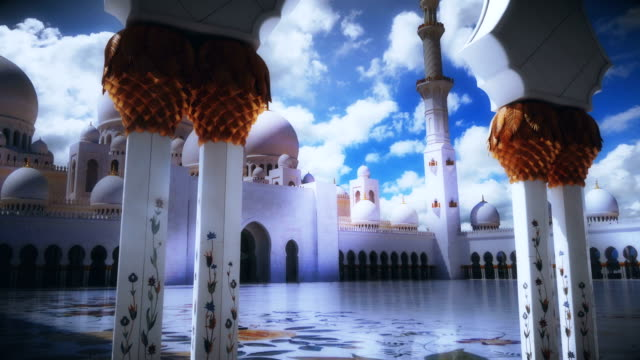 Sheikh Zayed Grand Mosque - View from between the columns - Timelapse 4K