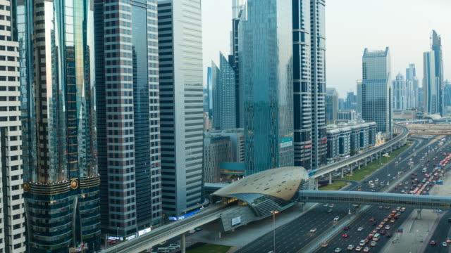 sheikh zayed road time lapse, dubai - underground rail stock videos & royalty-free footage