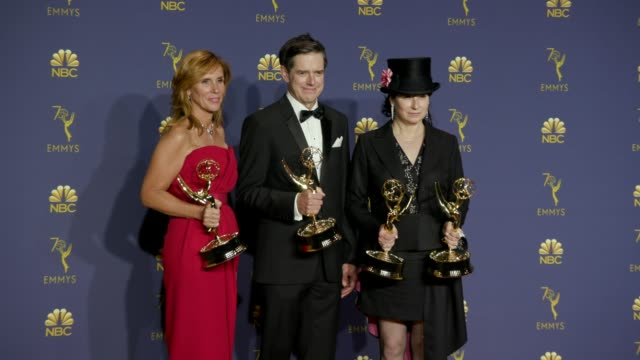 Sheila Lawrence Daniel Palladino and Amy ShermanPalladino at the 70th Emmy Awards Photo Room at Microsoft Theater on September 17 2018 in Los Angeles...