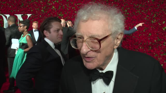interview sheldon harnick talks about receiving a lifetime achievement award at 2016 tony awards red carpet at the beacon theatre on june 12 2016 in... - 70th annual tony awards stock videos and b-roll footage
