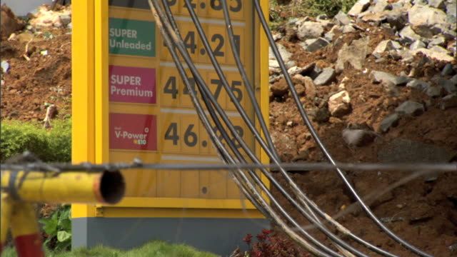 stockvideo's en b-roll-footage met shell gas station w/ gas hoses draped over price sign landslide red clay dirt mud rocks behind gas pump under island roof - benzineprijzen