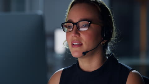 she'll handle your call whatever the hour - support stock videos & royalty-free footage