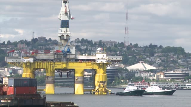 Shell's Polar Pioneer oil drilling rig arrives at the Port of Seattle to be prepped for the 2015 Arctic drilling season Environmental activists have...