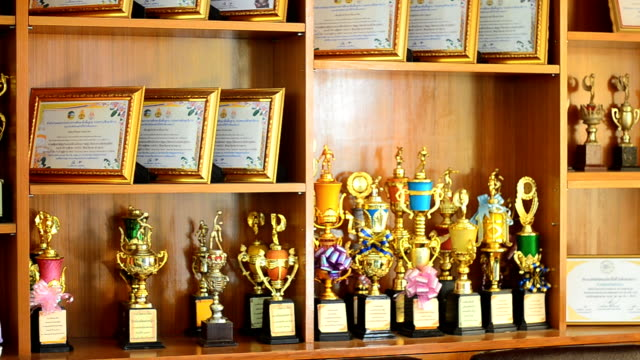 shelves of trophies - collection stock videos and b-roll footage