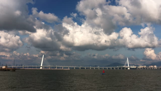 shenzhen bay bridge - bay of water stock videos & royalty-free footage