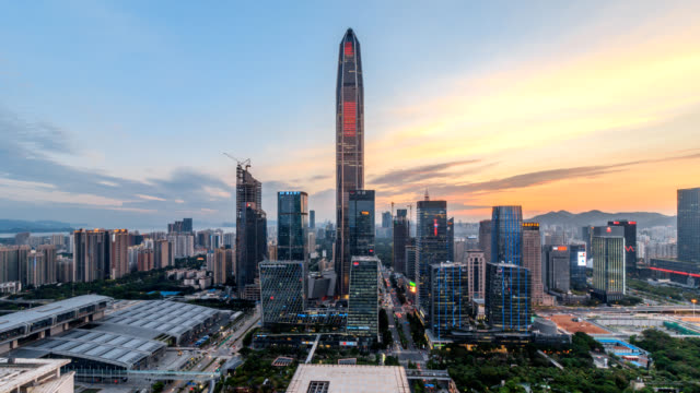 Shenzhen center skyline from dusk to night.