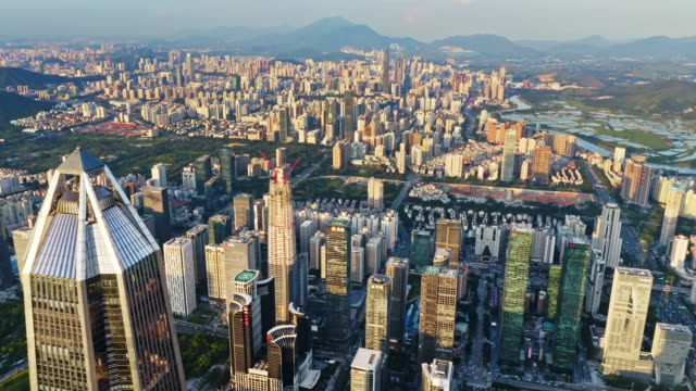 shenzhen city aerial view - 高み点の映像素材/bロール