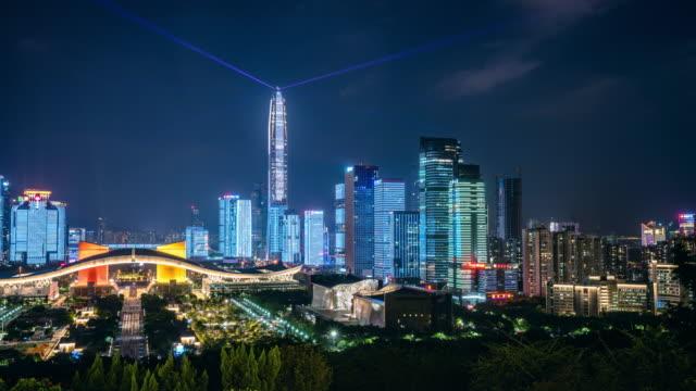 ShenZhen Stadt Laser show.time Zeitraffer