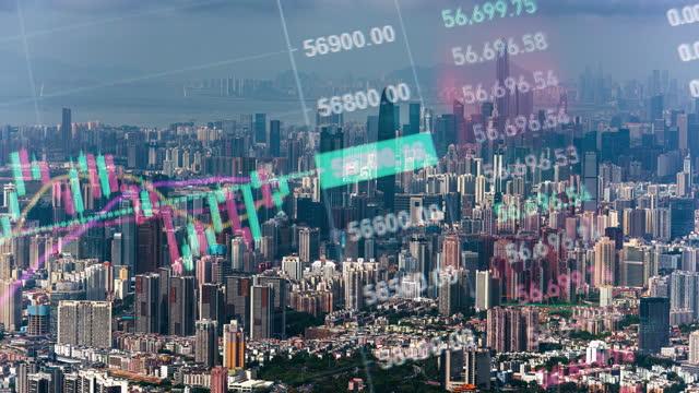 vidéos et rushes de t/l ls zo shenzhen cityscape timelapse et transaction financière en bourse - graphique