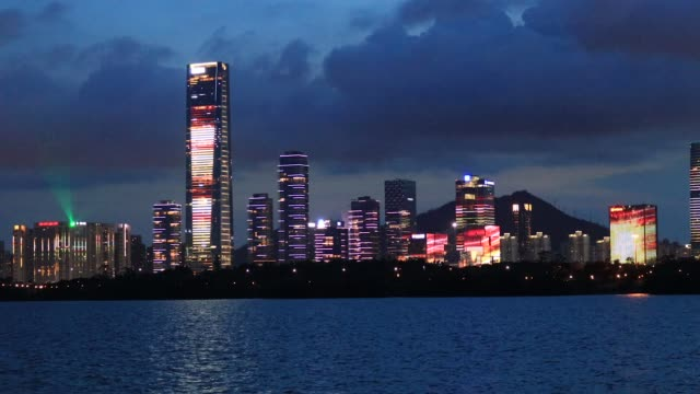 shenzhen houhai financial building at night/shenzhen,china - financial building stock videos & royalty-free footage