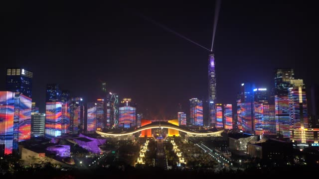 shenzhen light show city night view 70th anniversary laser - china east asia stock videos & royalty-free footage