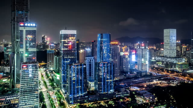 T/L WS HA TD Shenzhen Skyline at Night / Shenzhen, China