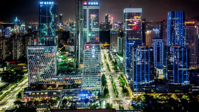 T/L WS HA Shenzhen Skyline at Night / Shenzhen, China