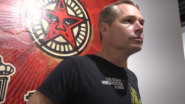 shepard fairey the artist behind the iconic obama hope poster unveils wall murals and opens exhibition in hong kong - poster stock videos & royalty-free footage