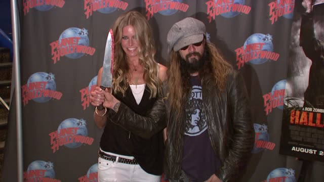 Sheri Moon Zombie and Rob Zombie at the Rob Zombie Sheri Moon Zombie Donate Memorabilia at Planet Hollywood at New York NY