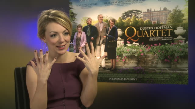 sheridan smith on dustin hoffman seeing her on stage and meeting him for the first time being emotional at 'quartet' interviews at soho hotel on... - dustin hoffman video stock e b–roll