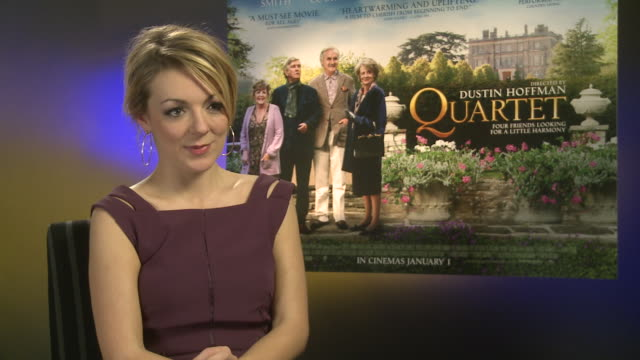 sheridan smith on working with dustin hoffman working with such a high profile cast how they treated her at 'quartet' interviews at soho hotel on... - sheridan smith stock videos & royalty-free footage
