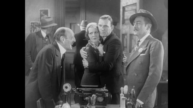 1931 sheriff tries to bribe editor (adolph menjou) with food but is called away by mayor - 1931 stock videos & royalty-free footage