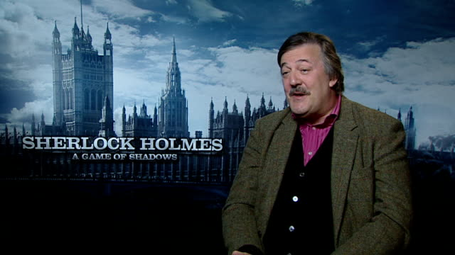 game of shadows': cast interviews; ritchie interview sot - on urban camouflage paying off in the end stephen fry interview sot - on being naked,... - stephen fry stock videos & royalty-free footage