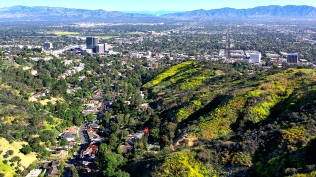 sherman oaks aerial real estate flyover - sherman oaks stock videos & royalty-free footage
