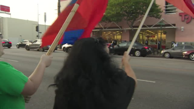 sherman oaks, ca, u.s. - armenian americans show solidarity with artsakh during protest against violence in nagorno-karabakh, on saturday, october... - eastern european culture stock videos & royalty-free footage